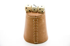 Dice cup. Of leather with die stock image
