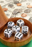Dice cup. Five dice with a brown dice cup Stock Photo