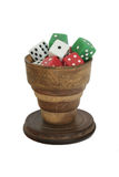 Dice cup. Antique dice cup Stock Image