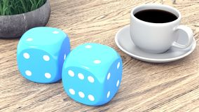 Dice and a cup of coffee on a wooden table. 3d render stock illustration