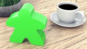 Dice and a cup of coffee on a wooden table. 3d render royalty free illustration