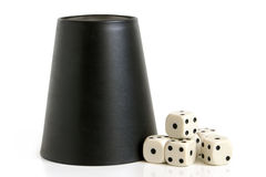 Dice cup and dice Stock Images