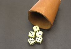 Dice cup and dice Royalty Free Stock Photography