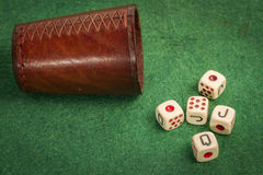 Dice Cup with Dices Royalty Free Stock Photos