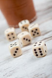 Dice cup and dices Stock Photography