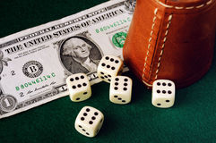 Dice cup dollar Stock Image