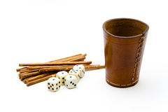 Dice cup with saltsticks Royalty Free Stock Photography