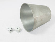 Dice with cup Royalty Free Stock Images