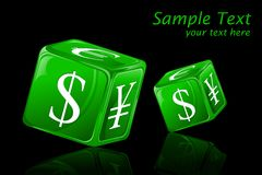Dice with Currency Symbol Stock Photography