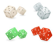 Dice 3d realistic game icons set vector illustration Royalty Free Stock Photo