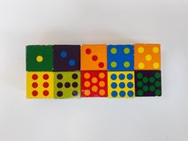 Dice die game piont. Toys woodblock betting gamester gambling royalty free stock photo