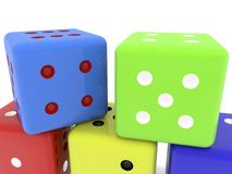 Dice in different colors Stock Photos