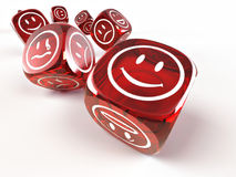 Dice with different emotions on faces stock illustration