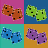 Dice. Different dice on squares with different color Royalty Free Stock Photos