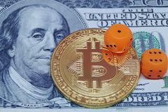 Risks of invest to bitcoin. Dice, dollar and bitcoin. Risks of invest to bitcoin Stock Image
