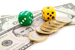 Dice and dollars Stock Photography