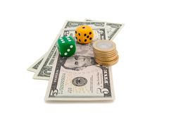 Dice and dollars Royalty Free Stock Image