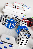 Dice and dominos Stock Photo