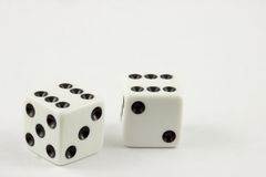 Dice - Double Sixes. Isolated Dice rolled with double sixes Stock Images