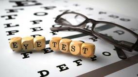 Dice with eye test written on it falling onto eye test stock video