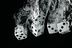 Dice falling into water. On a black background. Royalty Free Stock Photos