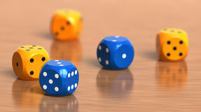 Dice. A few color dice cubes Royalty Free Stock Photos