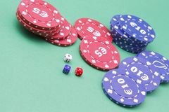 Dice and fiches Stock Photo