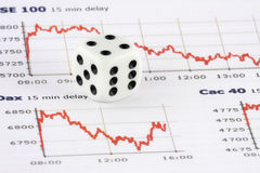 Dice on financial index chart Royalty Free Stock Images