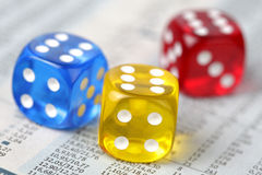Dice on financial report Stock Photo