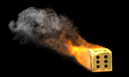 Dice in Fire. And Smoke Royalty Free Stock Photography