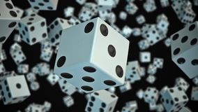 Dice Floating in Space Against Black stock video footage