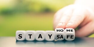 Free Dice Form The Expression `stay Home, Stay Safe`. Stock Image - 176057141