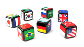 Dice with G20 flags cast. Dice with flags of the G20 nations cast Royalty Free Stock Photo