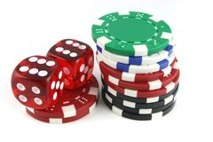 Dice and Gambling Chips Royalty Free Stock Photo