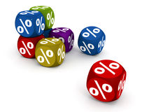Dice gambling percent. Dice with percent sign bouncing on white background, concept of luck and chance vector illustration