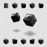 Dice gambling template. Black cubes in different positions on transparent background. Vector illustration. Royalty Free Stock Photo