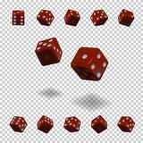 Dice gambling template. Red cubes in different positions on transparent background. Vector illustration. Royalty Free Stock Photography