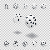 Dice gambling template. White cubes in different positions on transparent background. Vector illustration. Stock Photography