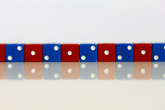 Dice game play random red blue Royalty Free Stock Images