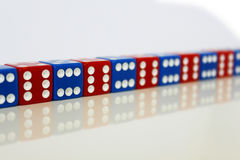 Dice game play random red blue Royalty Free Stock Photography