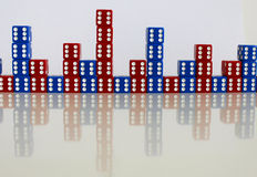 Dice game play random red blue Stock Photos