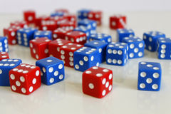 Dice game play random red blue Stock Photography