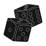 Dice for games in the casino. Stones to throw on the table for good luck.Kasino single icon in black style vector symbol. Stock web illustration Royalty Free Stock Photos