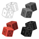 Dice for games in the casino. Stones to throw on the table for good luck.Kasino single icon in cartoon style vector. Symbol stock web illustration Royalty Free Stock Photos