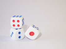 Three Dice. Games for relaxation and reduce stress Royalty Free Stock Images