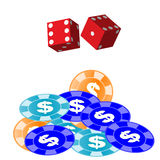Dice and gamling chips (vector). Dice and gamling chips for design royalty free illustration