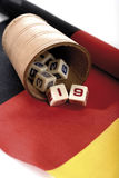 Dice on German flag Royalty Free Stock Image