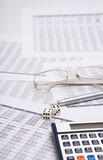 Dice, glasses  and pen Stock Photos
