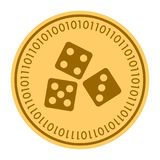 Dice golden digital coin vector icon. gold yellow flat coin cryptocurrency symbol isolated on white. eps 10 Royalty Free Illustration