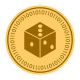 Dice golden digital coin vector icon. gold yellow flat coin cryptocurrency symbol isolated on white. eps 10 Vector Illustration